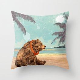 Beach Bear Throw Pillow