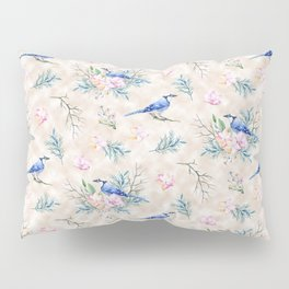 Chic Watercolour Blue Jay Spring Flowers Pillow Sham