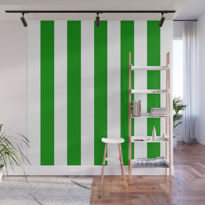 Islamic green - solid color - white vertical lines pattern Wall Mural