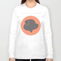 rottweiler Long Sleeve T-shirts featuring ROTTWEILER GREY ON PEACH by Moni & Dog