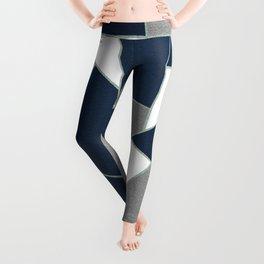 Navy Blue Gray White Mint Geometric Glam #1 #geo #decor #art #society6 Leggings