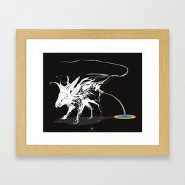 Rat and rainbow. White on dark on background - (Red eyes series) Framed Art Print
