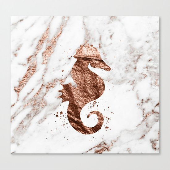 Rose gold seahorse marble Canvas Print