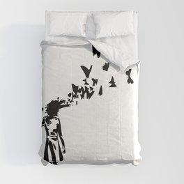 Banksy - Girl Shooting Her Head With Butterfly Design, Streetart Street Art, Grafitti, Artwork, Desi Comforters