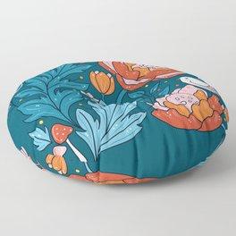Art nouveau teal Floor Pillow