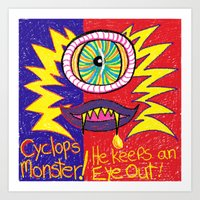 Crayon drawn Monsters Art Print