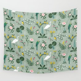 """""""Tropical Birds and Flowers"""" on Sage Green by Bex Morley Wall Tapestry"""