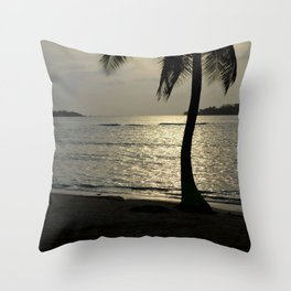 the sunset by the palm tree Throw Pillow