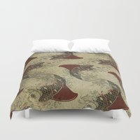 ying yang Duvet Covers featuring ying and yang shark fin goldfish pattern by Vin Zzep