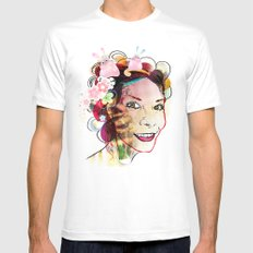 Happy Girl MEDIUM White Mens Fitted Tee
