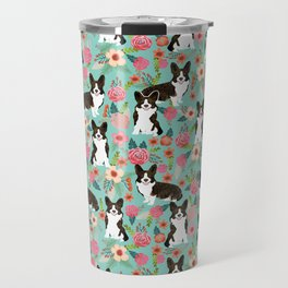 Brindle Cardigan Corgi Florals - cute corgi design, corgi owners will love this mint florals corgi Travel Mug