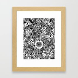 Blackand White Floral Line Drawing Framed Art Print