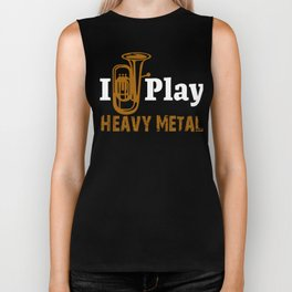 Funny Tuba Player Play Heavy Metal Biker Tank