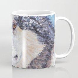 Alaskan Malamute dog portrait Fine Art Dog Painting by L.A.Shepard Coffee Mug