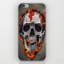Skull in Flames iPhone Skin