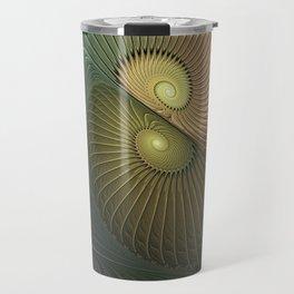 Fractal Spirals, Luminous And Psychedelic Travel Mug