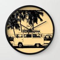 volkswagon Wall Clocks featuring Vintage Beach Van  by kishbish