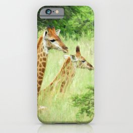 Baby giraffes in natures nursery iPhone Case