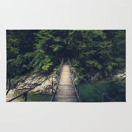 Simple suspension bridge over river Idrijca, Slovenia Rug
