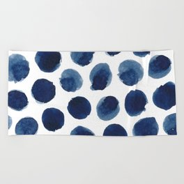 Watercolor polka dots Beach Towel