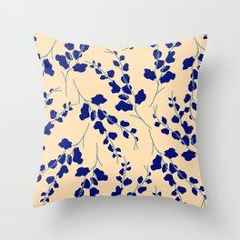 Blue Buds Throw Pillow