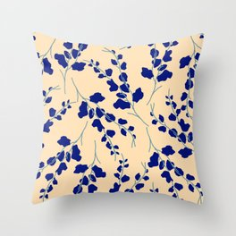 Blue Buds Throw Pillow