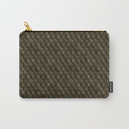 Diagonal Triangles in Black and Gold Vintage Faux Foil Art Deco Vintage Foil Pattern Carry-All Pouch
