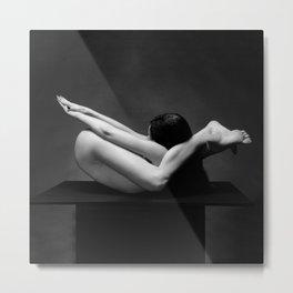 7487-MAK Flexible Nude Woman Erotic Black & White Naked Girl on Platform Metal Print