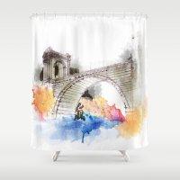 bridge Shower Curtains featuring bridge by emegi