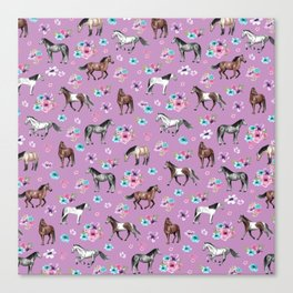 Purple Horse and Flower Print, Hand Drawn, Horse Illustration, Little Girls Decor Canvas Print