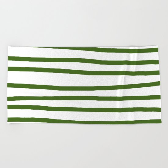 Simply Drawn Stripes in Jungle Green Beach Towel