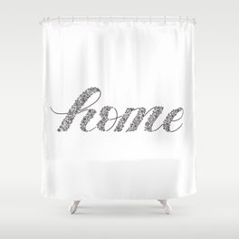Home, Letters filled with floral illustrations, black and white Shower Curtain