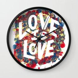 Love Is Love Rainbow Splatter Wall Clock