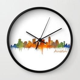 Austin Texas, City Skyline, watercolor  Cityscape Hq v2 Wall Clock