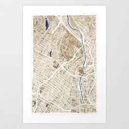 Los Angeles California City Map Art Print