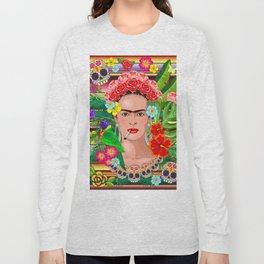 Frida Kahlo Floral Exotic Portrait Long Sleeve T-shirt