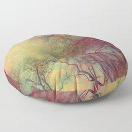 Tree Silhouette, Autumn Sunset Floor Pillow