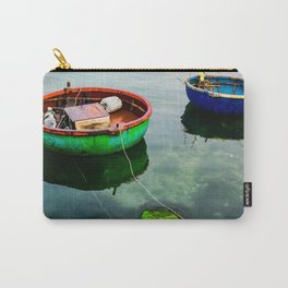 Natural green moss at beach rock with blue sea at Ly Son island, vietnam Carry-All Pouch