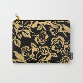 Gold Rose Pattern on Black Carry-All Pouch