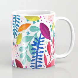 Exotic Bold Floral on White Coffee Mug