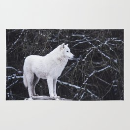 White Wolf Winter (Color) Rug