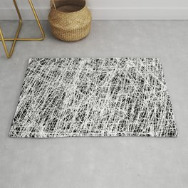 Web Of Confusion - Black and white, abstract painting Rug