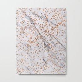 Rose gold diamond confetti on marble Metal Print