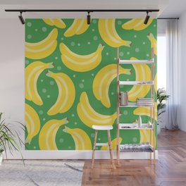 Vector bananas in a green background Wall Mural