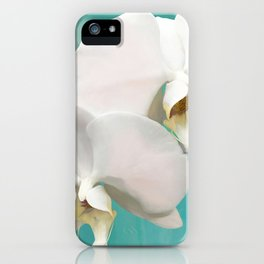 WHITE ORCHIDS - AQUA iPhone Case