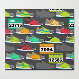 Running Shoes and Race Bibs Canvas Print