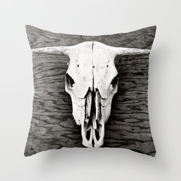 Cow Skull in Black and White Throw Pillow
