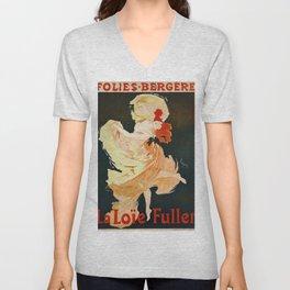 Vintage French poster - Jules Cheret - La Loie Fuller Unisex V-Neck