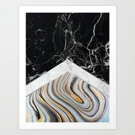 Arrows - Black Granite, White Marble & Blue Marble #182 Art Print