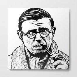 Drawing of Jean Paul Sartre by Woody Compton Metal Print